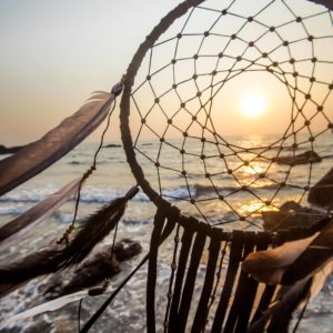 Dreamcatcher at sunset on the beach in India, Goa